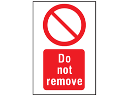 Do not remove symbol and text safety sign.