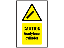 Caution acetylene cylinder symbol and text safety sign.