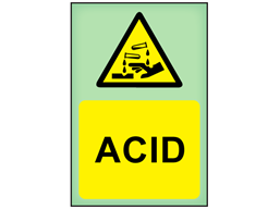 Acid photoluminescent safety sign