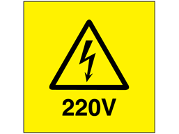 220V Electrical warning label
