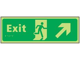 Exit arrow up right photoluminescent sign.