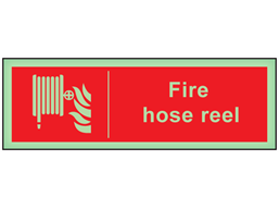Fire hose reel photoluminescent safety sign