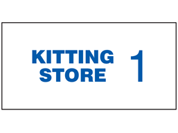 Kitting store sign, with location