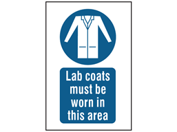 Lab coats must be worn in this area symbol and text safety sign.