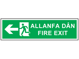 Allanfa dân, Fire exit (arrow left). Welsh English sign.