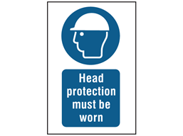 Head protection must be worn symbol and text safety sign.