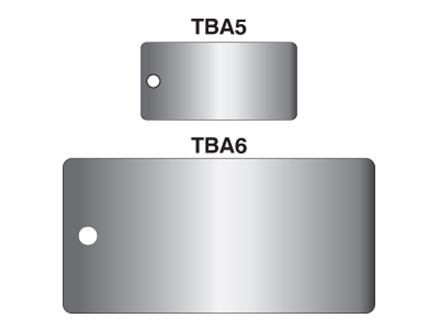 Blank anodised aluminium rectangular metal tags.