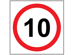 10 mph speed limit sign.