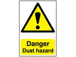 Danger, Dust hazard safety sign.