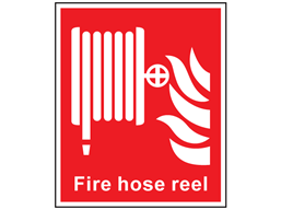 Fire hose reel symbol and text safety sign.