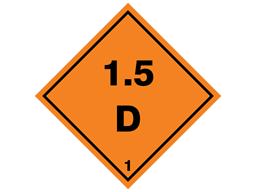 Explosive 1.5 D hazard warning diamond sign