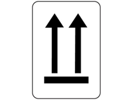 This way up packaging symbol label