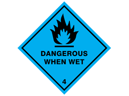 Dangerous when wet, class 4, hazard diamond label