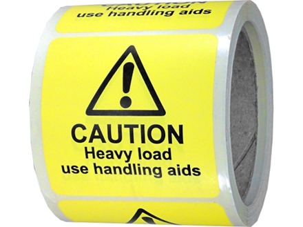 Caution heavy load use handling aids label.