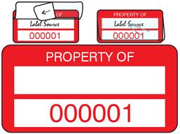 Property asset label, numbered, self laminating