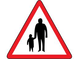 Pedestrians in road ahead sign