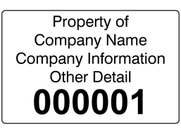 Assetmark tamper evident serial number label (black text), 32mm x 50mm