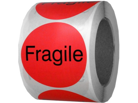Fragile packaging label