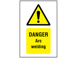 Danger Arc welding symbol and text safety sign.