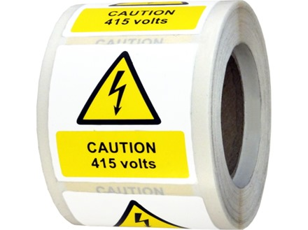 Caution 415 volts symbol and text safety label.