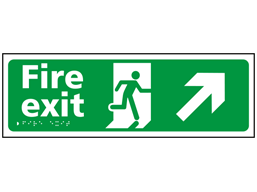 Fire exit, running man, arrow up right sign.