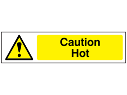 Caution Hot, mini safety sign.