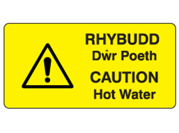 Rhybudd dwr poeth, Caution hot water. Welsh English sign.
