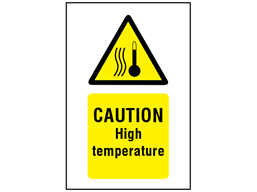 Caution High temperature symbol and text safety sign.