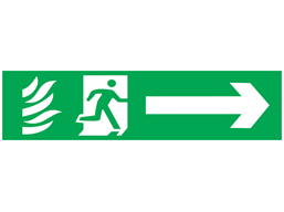 Fire exit, running man plus arrow right, mini safety sign.