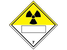 Radiation, class 7, hazard diamond label (with write on panel)
