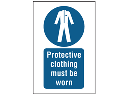 Protective clothing must be worn symbol and text safety sign.