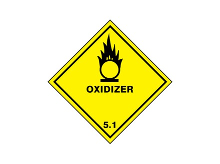 Oxidizer 5.1 hazard warning diamond sign