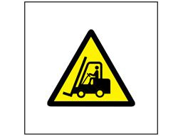 Risk of fork lift trucks symbol safety sign.