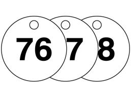 Plastic valve tags, numbered 76-100