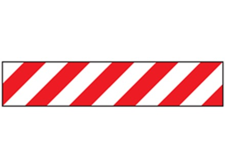 Laminated warning tape, red and white chevron.