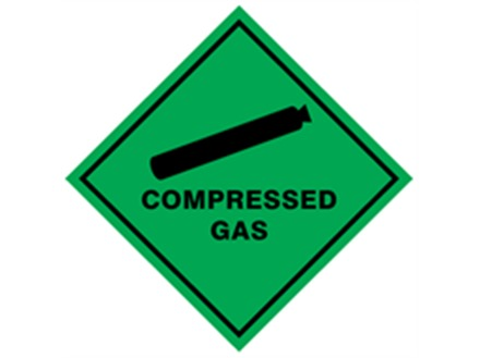 Compressed gas hazard warning diamond label, magnetic