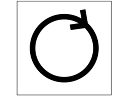 Clockwise rotation symbol labels.