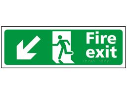 Fire exit, running man, arrow down left sign.