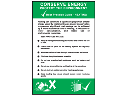 Conserve energy heating sign.