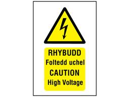 Rhybudd Foltedd uchel, Caution High voltage. Welsh English sign.