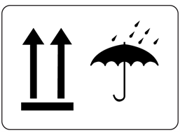 This way up, keep dry packaging symbol label