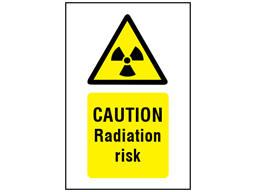 Caution radiation risk symbol and text safety sign.