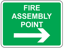 Fire assembly point, arrow right sign