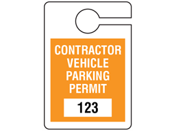 Contractor vehicle parking permit tag, serial numbered