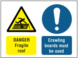 Danger Fragile roof, Crawling boards must be used safety sign.