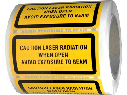 Caution laser radiation when open avoid exposure to beam, laser equipment warning safety label.