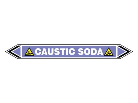 Caustic soda flow marker label.