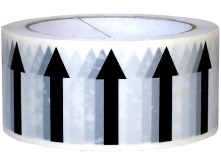 Flow direction arrows pipeline identification tape.