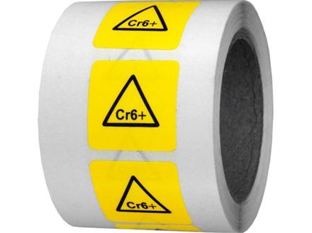 Cr6+ (chrome) symbol label.