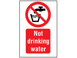 Not drinking water symbol and text safety sign.